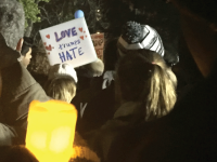 HANNAH URTZ/THE HOYA Georgetown University Law Center student Julie Rheinstrom (GRD '17) organized a vigil against the rhetoric of President-elect Donald Trump, which was attended by more than 2,000 people on Saturday evening.