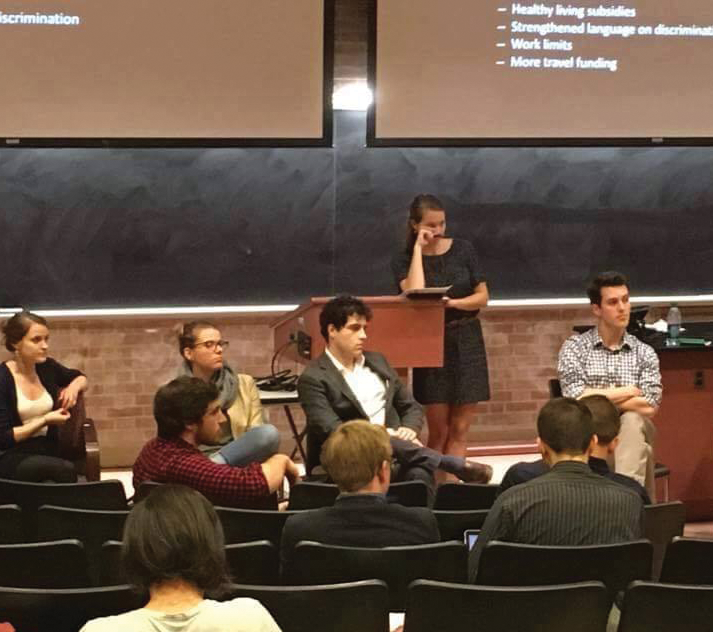 FACEBOOK Members of the Doctoral Students Coalition advocated the benefits of pursuing unionization, including increased wages and healthcare benefits, in a town hall meeting for doctoral students Wednesday.