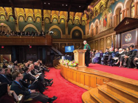 GEORGETOWN UNIVERSITY Georgetown recognized three professors in Gaston Hall on Oct. 21 for their service to the university in both research and teaching.
