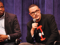 JESUS RODRIGUEZ/THE HOYA James Peterson (left) and activist Shaun King (right) called on students to participate in resistance movements leading up to President-elect Donald Trump's inauguration in a discussion at the Intercultural Center on Tuesday.