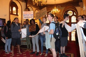 FACEBOOK Students demonstrate in support of workers' rights on Georgetown's campus.