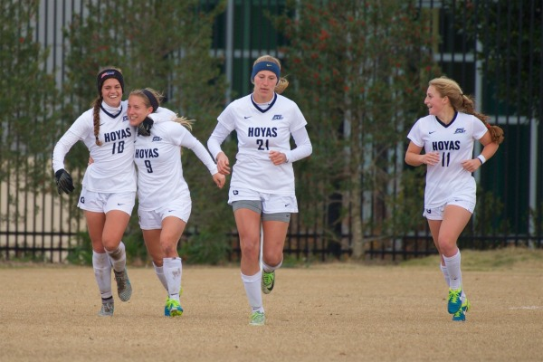 COURTESY GUHOYAS Georgetown advanced to the College Cup after graduate student forward Crystal Thomas, second from left, scored a late goal in the team's 1-0 victory over Santa Clara last weekend.
