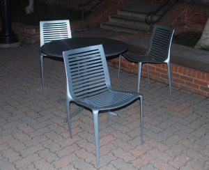 MATTHEW TRUnKO/THE HOYA Students living in Henle Village have raised concerns over being charged for four chairs that were vandalized in the Henle Village courtyard.