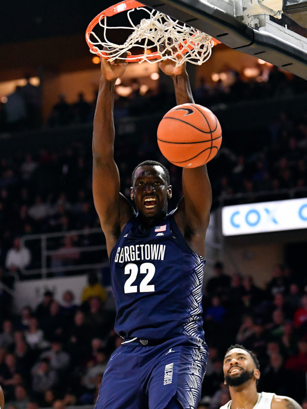 Junior forward Akoy Agau recorded his first career double double with 12 points and 12 rebounds against Providence on Wednesday night. (COURTESY GUHOYAS)