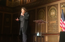 JEANINE SANTUCCI/THE HOYA Actress Anna Deavere Smith highlighted the role theater can play in raising awareness for issues affecting underrepresented populations in a Gaston Hall event Jan. 19.