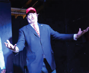 """DOJO COMEDY """"Stupid's Arrow,"""" a long-form improvisation and sketch comedy show at Dojo Comedy last Valentine's Day, featured a caricature of Donald Trump."""