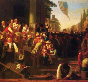 "GEORGE CALEB BINGHAM ""The Verdict of the People,"" a painting by George Caleb Bingham, depicts the public reaction to the passage of the Kansas-Nebraska Act."