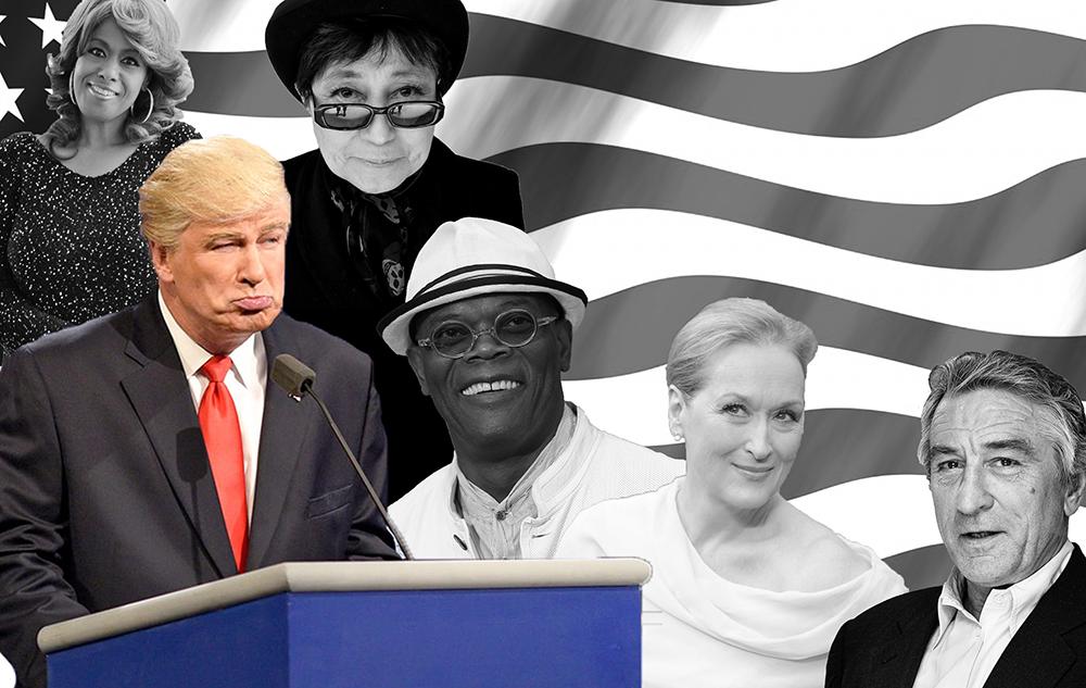 GRAPHIC BY ALYSSA VOLIVAR/THE HOYA A few of the celebrities Donald Trump has feuded with:  Jennifer Holliday, Yoko Ono, Alec Baldwin, Samuel L. Jackson, Meryl Streep, & Robert De Niro