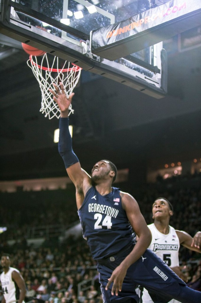 Sophomore forward Marcus Derrickson finished with nine points on 3-of-5 three point shooting in Monday's loss to Providence. Derrickson also dished out four assists and grabbed six rebounds. (FILE PHOTO: DAN KREYTAK/THE HOYA)