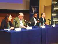 MEGAN CAREY/THE HOYA Speakers at the second annual Georgetown Africa Business Conference discussed the large potential for economic growth on the African continent in the Lohrfink Auditorium on Feb. 4.