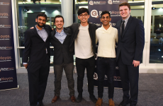 COURTESY STARTUPHOYAS Nitin Iyengar, left, Sebastien Garcia (GRD '17), Rainier Go (MSB '17), Shivum Bharill (COL '17) and Chris Gabon attended Entrepreneurship: A Force for Good, where 16 student startups competed.