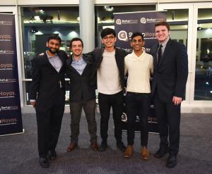 COURTESY STARTUPHOYAS Nitin Iyengar, left, Sebastien Garcia (GRD '17), Rainier Go (MSB '17), Shivum Bharill (COL '17) and Chris Gabon attended Entrepreneurship: A Force for Good, where 16 student startups competed.