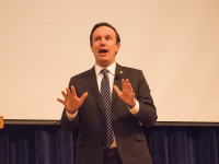 KARLA LEYJA/THE HOYA Sen. Chris Murphy (D-Conn.) spoke against President Donald Trump's Jan. 27 immigration order, which temporarily bans immigration from seven predominantly Muslim countries for 90 days and permanently bans refugees from Syria, and predicted the order would be overturned by the courts.