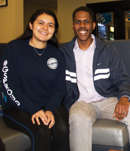 FILE PHOTO: ANNA KOVACEVICH/THE HOYA GUSA Vice President-elect Jessica Andino (COL '18), left, and President-elect Kamar Mack (COL '19) will be the third GSP and second sophomore executives, respectively.