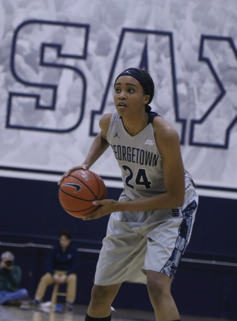 Senior forward Faith Woodard scored 17 points on 3-of-6  three-point shooting in Friday's victory over Providence. (DERRICK ARTHUR/THE HOYA)