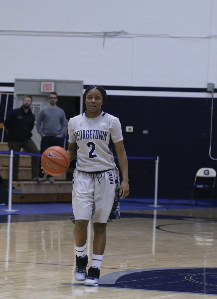 Junior guard DiDi Burton finished with a team-high three steals while contributing three assists in Friday's victory over Seton Hall. (FILE PHOTO: DERRICK ARTHUR/THE HOYA)