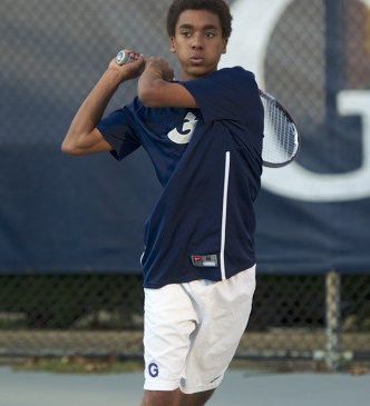 Senior Yannik Mahlangu, pictured, and sophomore Will Sharton secured a 6-3 victory in their doubles match against Morgan State on Wednesday. (COURTESY GUHOYAS)
