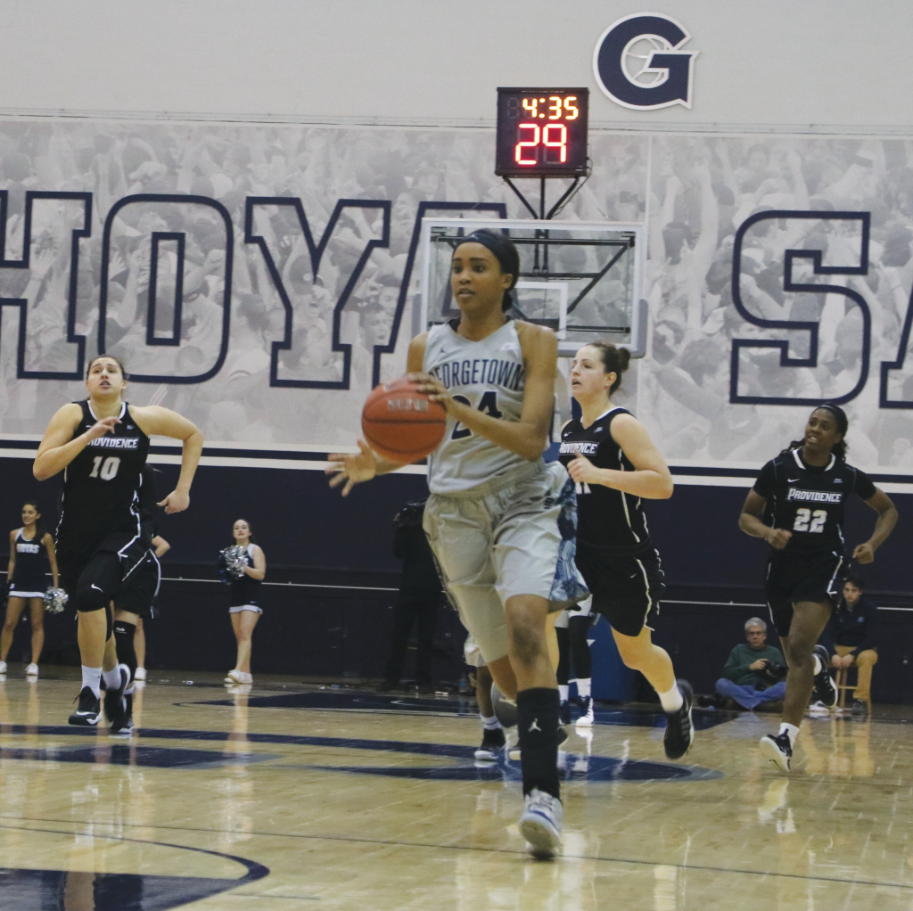 Senior forward Faith Woodward averages a team high 7.9 rebounds per game while scoring 14 points per game. (FILE PHOTO: DERRICK ARTHUR/THE HOYA)