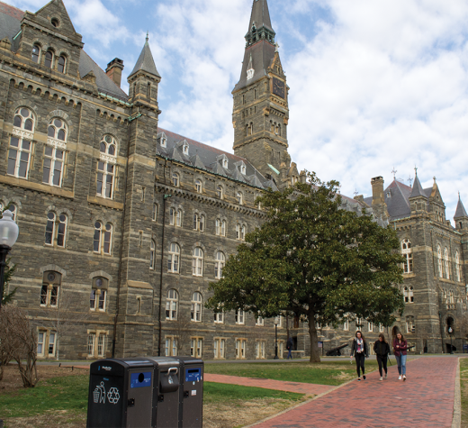 ELLA WAN/THE HOYA Healy Hall is one of several public buildings on campus with single-stall restrooms that the university is planning to make gender-inclusive and Americans with Disabilities Act-compliant.