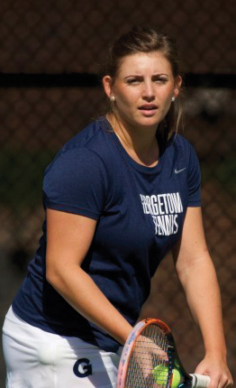Sophomore Cecilia Lynham defeated her number five counterpart in two consecutive 6-1 sets in the women's victory over Masschusetts on Friday. (COURTESY GUHOYAS)
