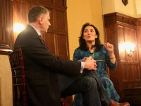 GEORGETOWN REVIEW Program for Jewish Civilization Director Jacques Berlnerblau, left, moderated a talk with Self-avowed liberal and Islamic reform activist Asra Nomani on her support of Presdent Donald Trump and views on Islamic extremism in Copley Formal Lounge on Wednesday.