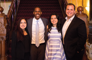 KARLA LEYJA/THE HOYA GUSA President Kamar Mack (COL '19) and Vice President Jessica Andino (COL '18) took over from Enushe Khan (MSB '17, left) and Chris Fisk (COL '17) on Saturday.
