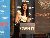 JESUS RODRIGUEZ/THE HOYA Soraya Eid (COL '17) opened the fourth annual OWN IT summit in Gaston Hall on Saturday.