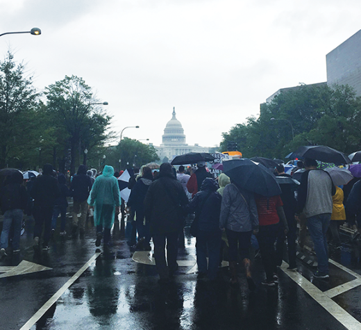 ISABEL BINAMIRA/THE HOYA Tens of thousands gathered at the National Mall on Saturday to march to the Capitol building.