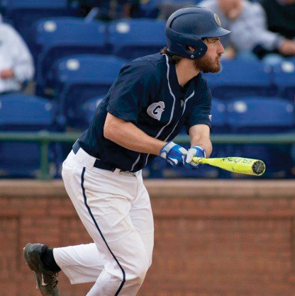 Junior first basemen Alex Bernauer scored two runs and recorded one RBI in this weekend's series against NYIT. Bernauer is hitting .250 this season. (COURTESY GUHOYAS)
