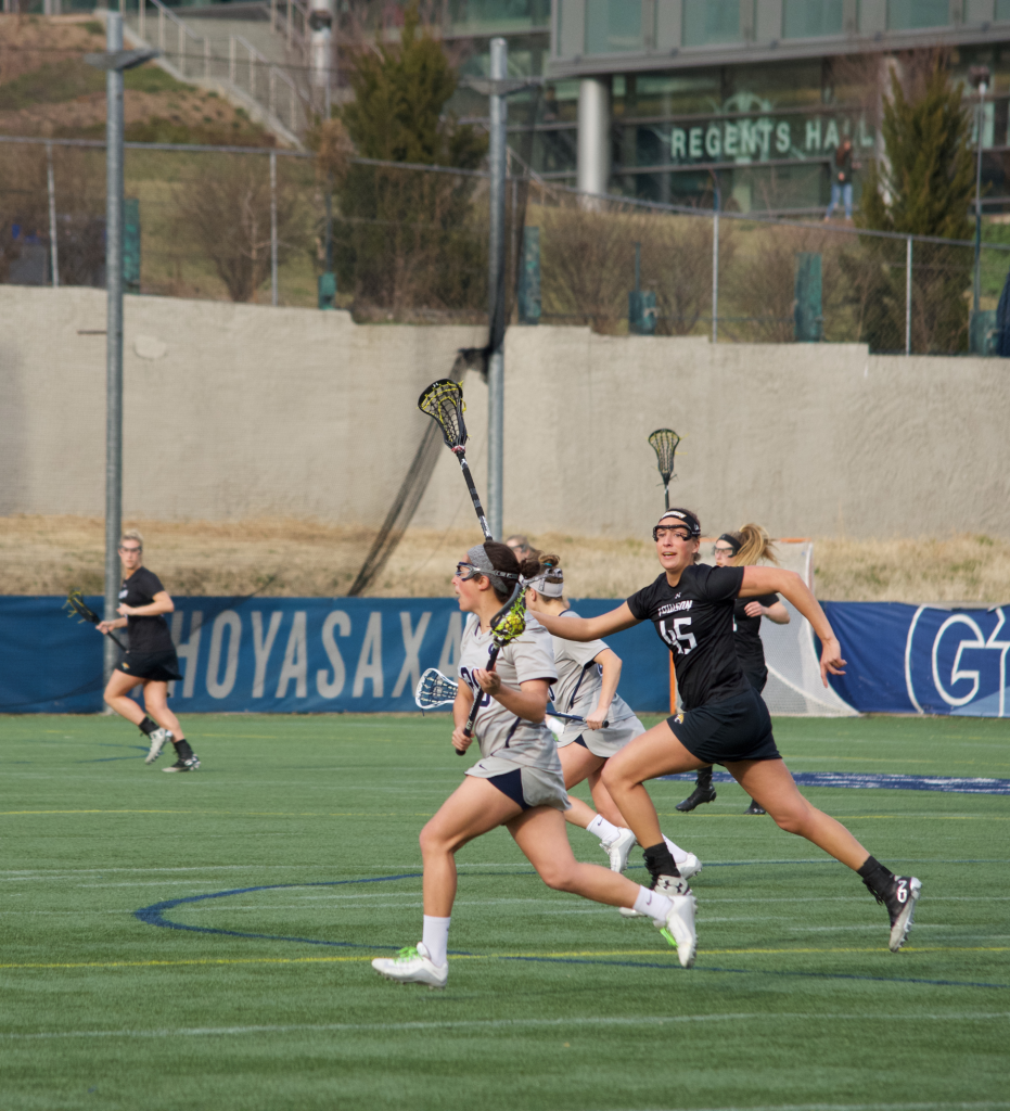 Senior defender Candace Pallitto recorded one ground ball in Saturday's loss to Temple. Pallitto has 13 ground balls this season and has started all 11 games for the Hoyas. (FILE PHOTO: STEPHEN COOK/THE HOYA)