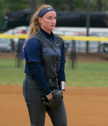 Freshman pitcher Anna Brooks Pacha pitched 6.1 innings in Sunday's 9-6 loss to Temple. Pacha struck out seven while allowing 8 earned runs. (COURTESY GUHOYAS)