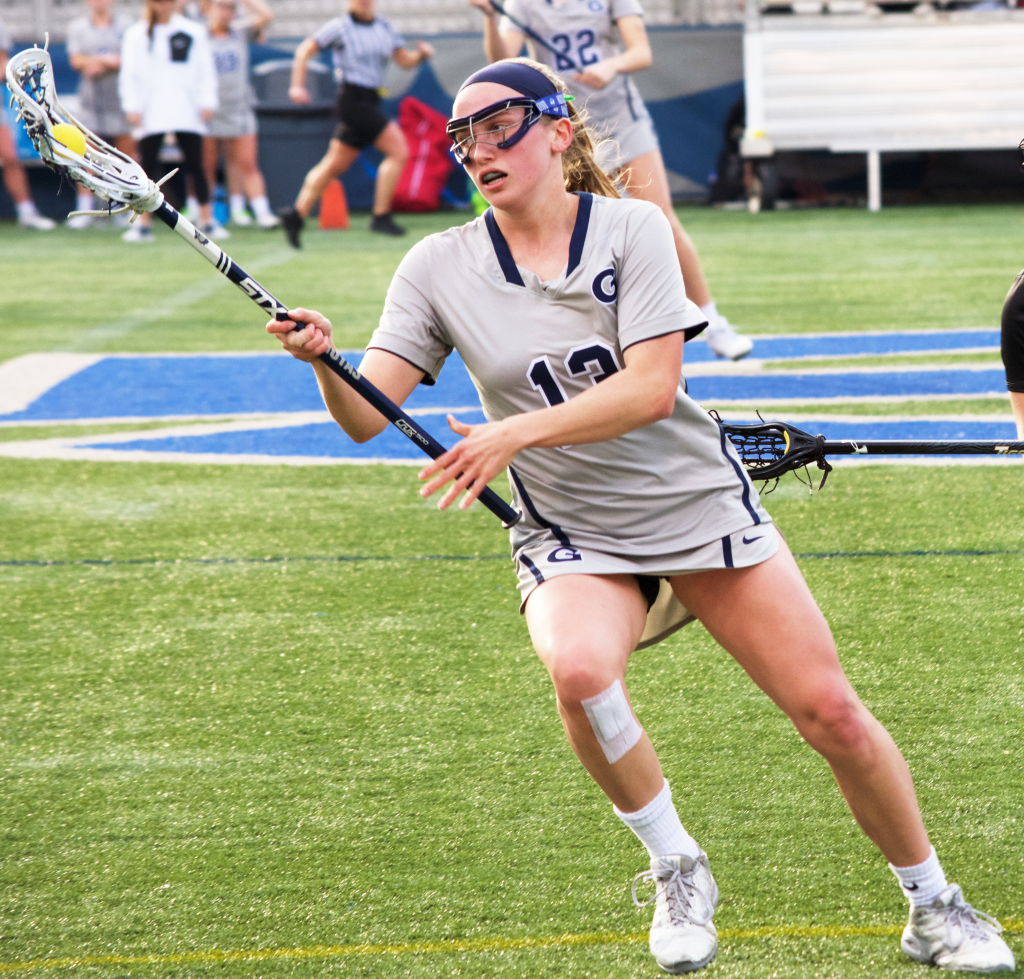 Sophomore defender Megan Massimino recorded one goal and caused one turnover in Wednesday's 14-13 victory over Villanova. (FILE PHOTO: SPENCER COOK/THE HOYA)