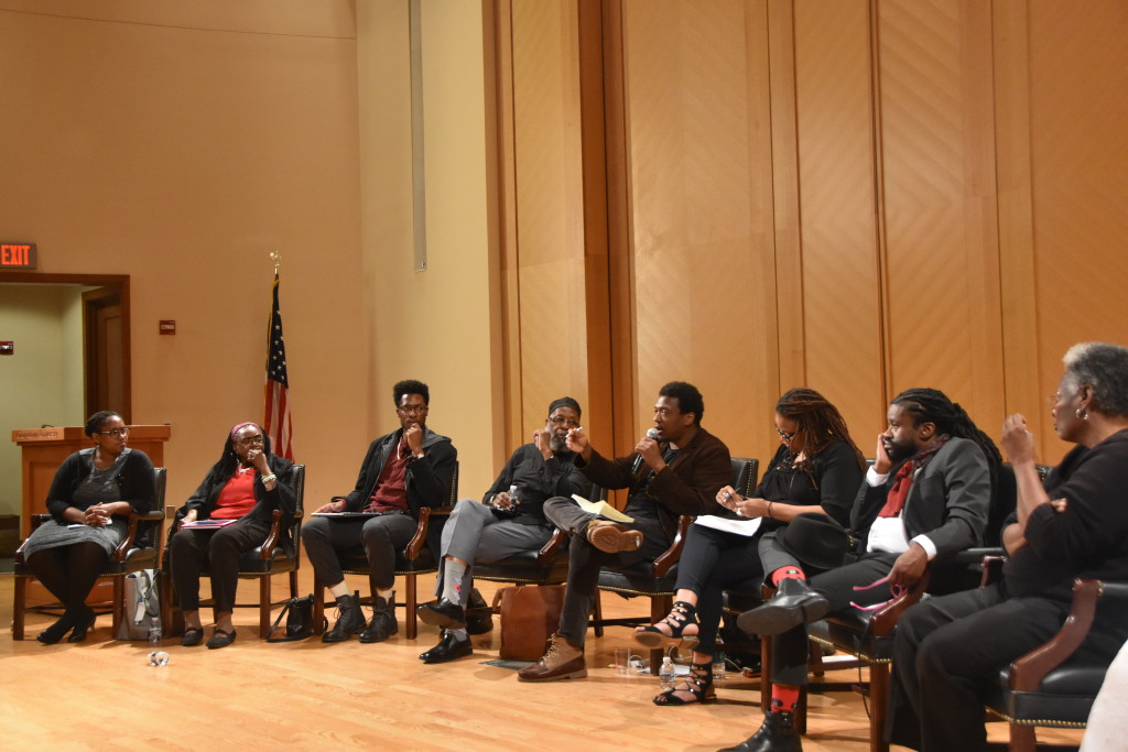 "Civil rights activists and Black Lives Matter activists engaged in a panel discussion as part of a day of events commemorating the 50th anniversary of Martin Luther King Jr.'s ""Beyond Vietnam"" speech. (JEANINE SANTUCCI/THE HOYA)"