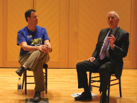 COURTESY GEORGETOWN UNIVERSITY LECTURE FUND Associate Vice President of Climate Political Affairs Jeremy Symons, left, and Myron Ebell, who led President Donald Trump's Environmental Protection Agency transition team, discussed climate change Wednesday.