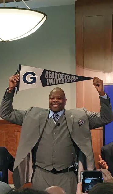 Athletic Director Lee Reed and University President John J. DeGioia introduce Basketball Hall of Famer Patrick Ewing as the next men's basketball head coach. Ewing brought the Hoyas their sole National Championship in 1984. (PAOLO SANTAMARIA/THE HOYA)