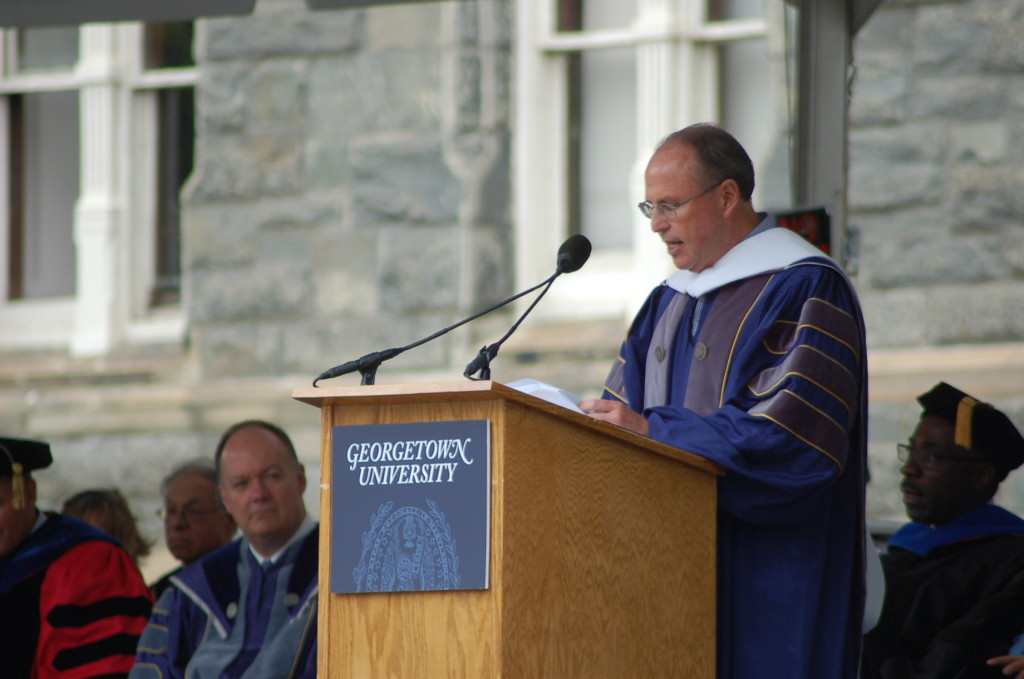 JEFF CIRILLO/THE HOYA BuzzFeed president Greg Coleman encouraged conviction and self-accountability in his commencement address to 2017 MSB graduates.