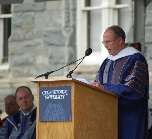 JEFF CIRILLO/THE HOYA Buzzed president Greg Coleman encouraged conviction and self-accountability in his commencement address to 2017 MSB graduates.