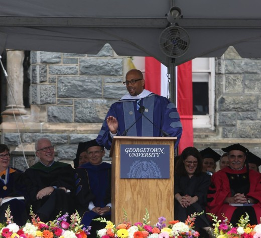 DERRICK BLACK/THE HOYA James Shelton III, president of the Chan Zuckerberg Initiative, told the NHS Class of 2017 to believe in their potential to change the world.