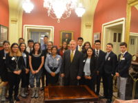 JESUS RODRIGUEZ/THE HOYA Sixteens students without documentation met with Sen. Dick Durbin (D-Illinois) Wednesday night.