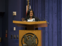 WILL CROMARTY FOR THE HOYA Pramila Jayapal, the first Indian-American to serve in Congress, shared her Georgetown story with students Monday.