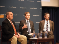 ELIZA MINEAUX FOR THE HOYA Professor Matthew Kroenig, center, moderated a discussion on nuclear nonproliferation and North Korea between former Pentagon official Michael Rubin, left, and newly appointed Vice Dean of Georgetown College David Edelstein, right, on Wednesday night.