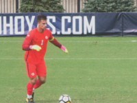 RICHARD SCHOFIELD FOR THE HOYA Junior goalkeeper JT Marcinkowski has made 28 saves this season, allowing nine goals in 11 games.