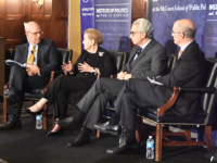 JESUS RODRIGUEZ/THE HOYA School of Foreign Service Dean Joel Hellman, left, moderated a panel comprising former Secretary of State Madeleine Albright, former president of Mexico Ernesto Zedillo and former Deputy Secretary of State Strobe Talbott.