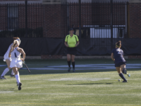ALYSSA ALFONSO FOR THE HOYA Senior midfielder Megan Parsons, right, has played all of the team's 19 games this season, scoring two goals and adding three assists.