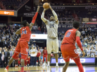 RICHARD SCHOFIELD/THE HOYA Junior forward Marcus Derrickson scored a career-high 27 points while grabbing 11 rebounds in Georgetown's 93-86 double-overtime victory against St. John's.