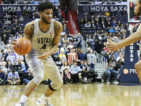 SUBUL MALIK/THE HOYA Sophomore guard Jagan Mosely tallied 7 points off the bench for the Hoyas on 3 of 5 shooting, as the team fell 85-77 to the Creighton Bluejays.