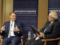WILL CROMARTY/THE HOYA Senator Jeff Flake (R-Ariz.), left, discussed the decline of bipartisanship with Mo Elleithee, the executive director of the Georgetown Institute of Politics and Public Service.