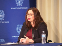 LAUREN SEIBEL/THE HOYA Senator Tammy Duckworth (D-Ill.) told a capacity crowd of Georgetown students that the Trump administration is bringing the country dangerously close to war with North Korea.