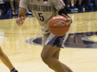 FILE PHOTO: CAROLINE PAPPAS/THE HOYA Senior forward Cynthia Petke notched her 11th double-double of the season against Villanova, scoring 12 points with 14 rebounds.