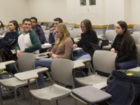 RYAN BAE/THE HOYA Following two information sessions this week, four tickets are set to face off in the Georgetown University Student Assocation's executive election to be held Feb. 22.